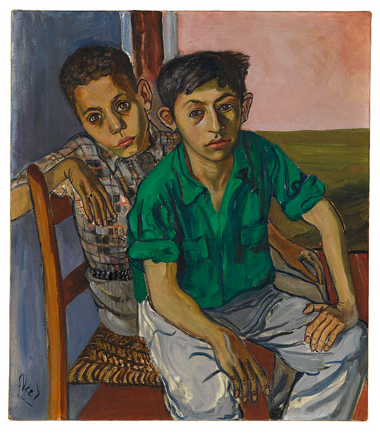 Alice Neel, Two Puerto Rican Boys, 1956, oil on canvas, 32 x 28 inches (Jeff and Mei Sze Greene Collection. © The Estate of Alice Neel, courtesy of David Zwirner, New York/London and Victoria Miro, London)