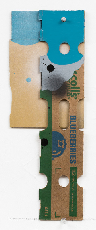 George Negroponte, Blueberries, 2016, enamel, latex and spray paint on cardboard, 15 1/2 x 5 3/4 inches