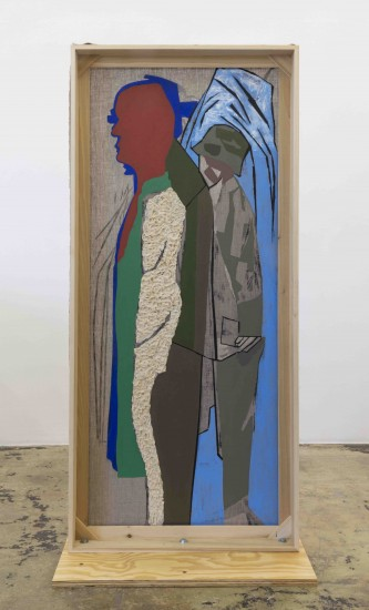 Dona Nelson, Mountain Passengers, 2017, collage, dyed cheesecloth, muslin, and acrylic mediums on linen mounted on plywood base, panel: 81.5 x 36 in, base: 38 x 23 inches (courtesy of Thomas Erben Gallery)