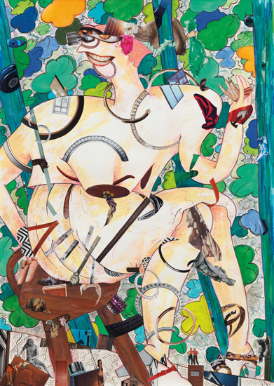 Gladys Nilsson, A Girl in the Arbor #7, 2013, mixed media on paper, 41 1/2 x 29