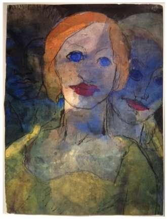 Emil Nolde, Phantasie (Drei Köpfe) (Imagination (Three Heads)), 1931-35, waterco