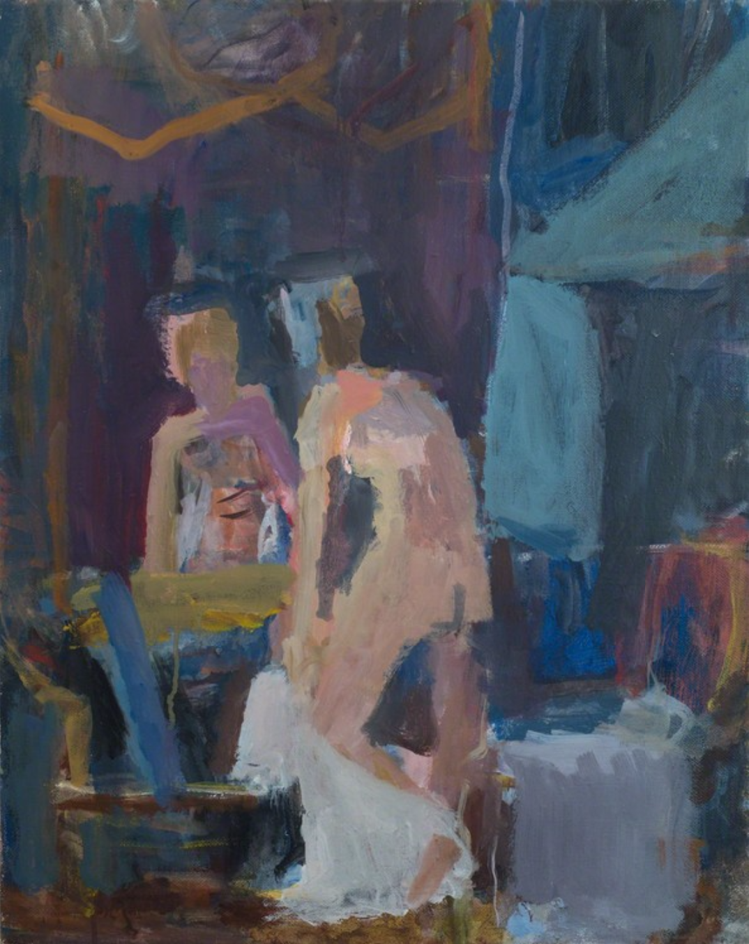 Janice Nowinski, Woman Dressing in Front of Mirror, 2016, oil on linen, 20 × 16 inches (courtesy of Kent Fine Art)