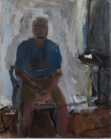 Janice Nowinski, Portrait of a Man in the Studio, 14 x 11 inches, oil on canvas,