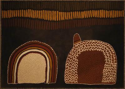 Lena Nyadbi, Jimbala, Jeering and Daiwul Country, 2001, ochres on canvas (courte