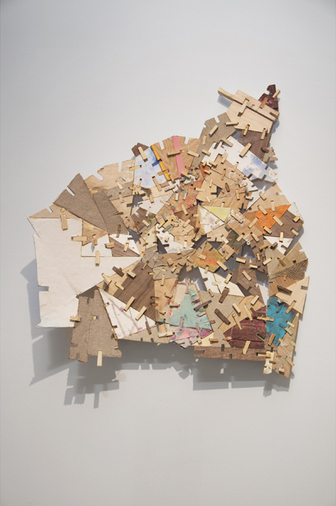 Helen O'Leary, Home is a Foreign Country #9, 2018, polymer, pigment, chalk on constructed wood, 27 x 25 x 5 inches (courtesy of Leslie Heller Gallery)