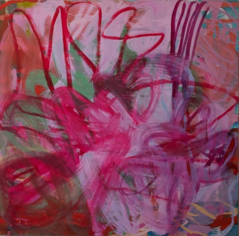 Fran O'Neill, chime in, 66 x 66 inches, oil on canvas, 2014 (courtesy of the art