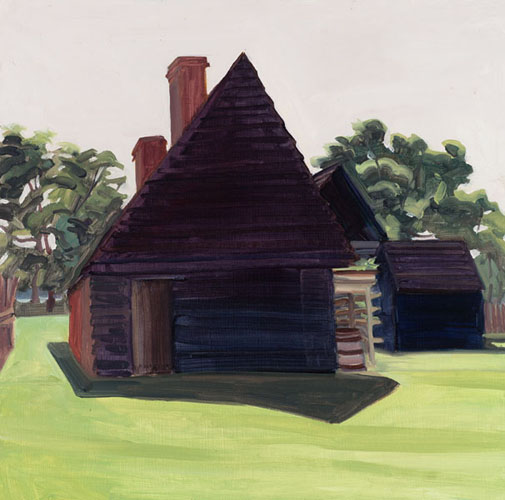 Elizabeth O'Reilly, Black House and Shadow, oil on panel, 11 x 19 inches, 2012 (