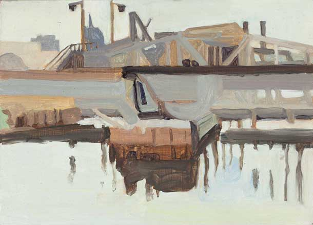 Elizabeth O'Reilly, Newtown Creek, oil on aluminum, 5 x 7 inches, 2014 (courtesy