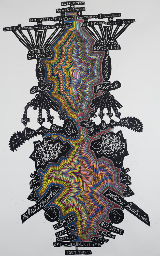 John O'Connor, Turing, colored pencil and graphite on paper, 2010, 78 x 50 inche
