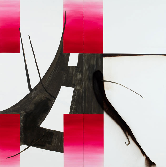 Albert Oehlen, Untitled (Baum 84), 2016, oil on dibond, 98 7/16 × 98 7/16 inches (© Albert Oehlen  Photo by Stefan Rohner)