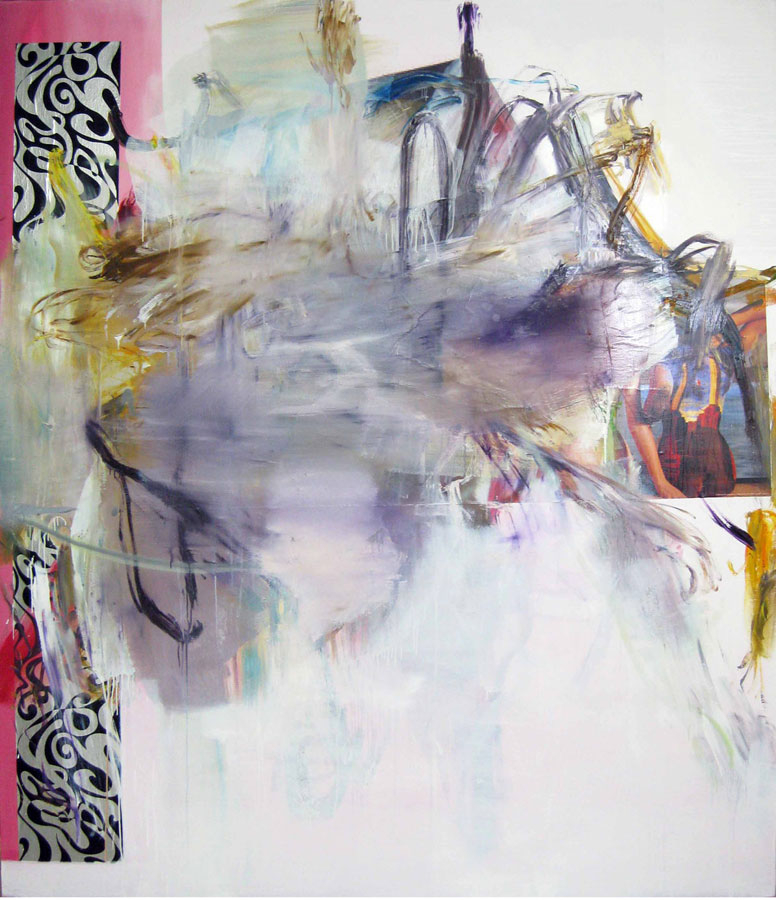 Albert Oehlen, FM 38, 2011, oil and paper on canvas, 86 by 74 13 inches (courtes