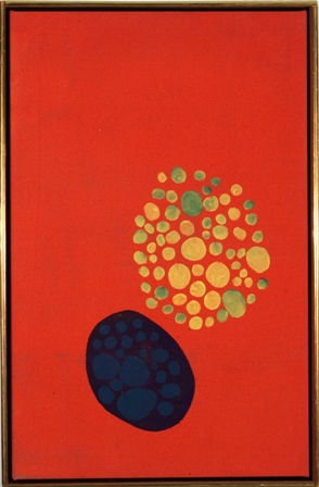 Jules Olitski, Shaker,1961, magna acrylic on canvas, 25 x 16 inches (courtesy Th