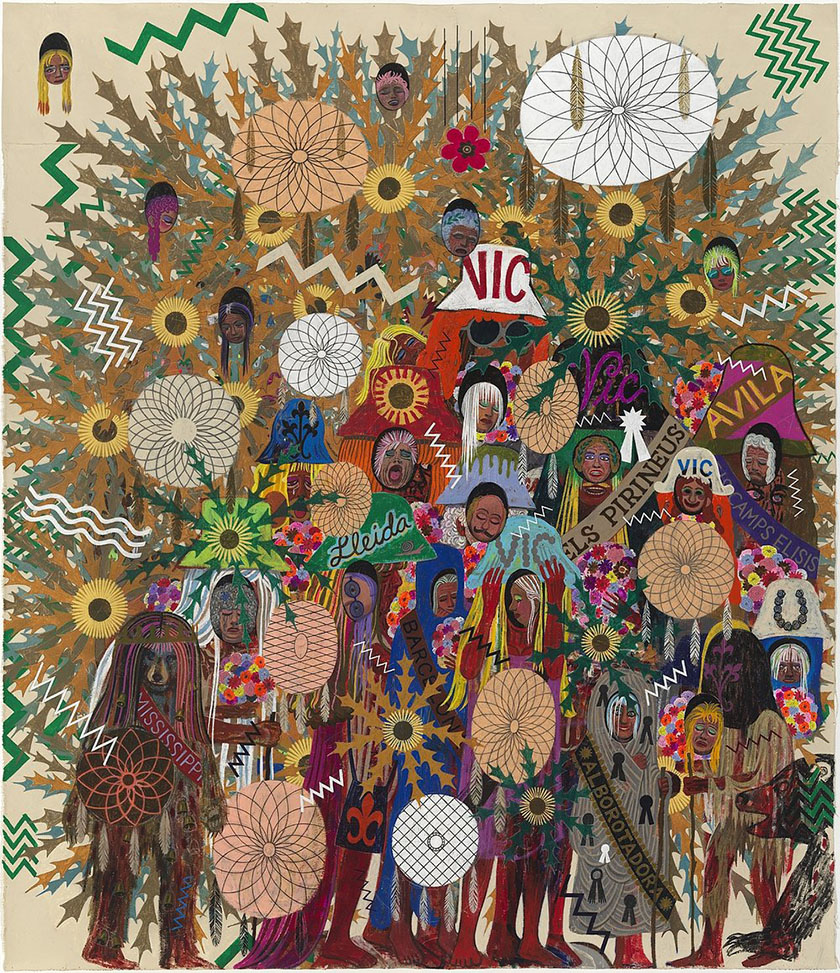 Alex O'Neal, Façade of a Catalan Pilgrimage With Self-healing Bears And A Falling Flower, 2016, acrylic and graphite on canvas, 84 X 72 inches (courtesy of  Linda Warren Projects)