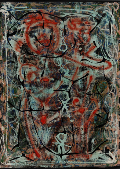 Alfonso Ossorio, Couple and Progeny, 1951, ink, wax, watercolor and cut paper mo