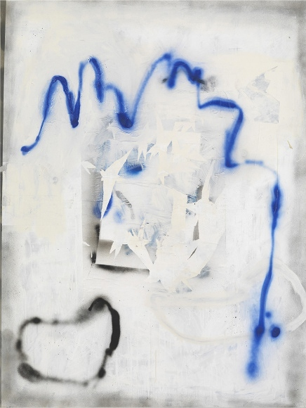 David Ostrowski, F (Diagramm), oil, lacquer and paper on canvas, 200 cm x 150 cm