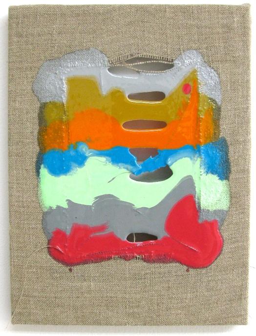 Lori Ott, Red Eye, 2013, resin, pigments, linen on wood strecher frame, 12 x 9 i