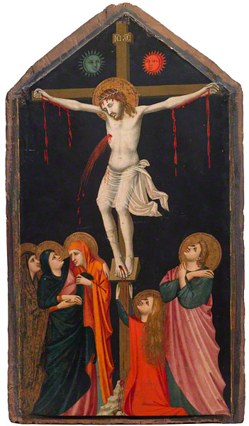 The Crucifixion, about 1315–20, Pacino di Bonaguida. Tempera and gold leaf on pa