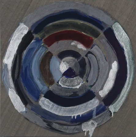 Pamela Jorden, Silver target, 2011, oil on silk, 20 x 20 inches (courtesy Klaus