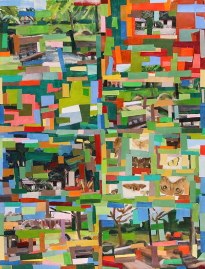 Hearne Pardee, Garden Grid, acrylic collage on paper, 38 x 50 inches, 2016 (courtesy of Bowery Gallery)