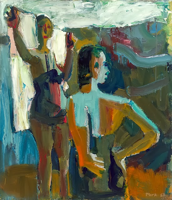 David Park, Two Bathers, 1958, oil on canvas, 58 x 50 inches (San Francisco Muse