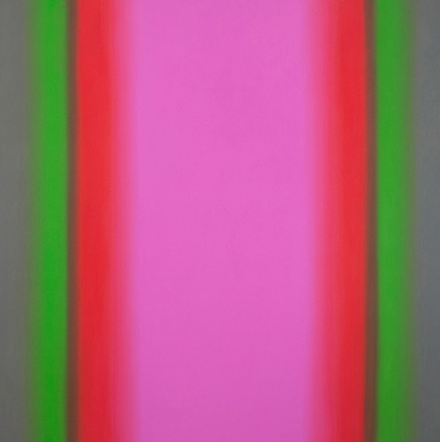 Ruth Pastine, Witness 8-S7272 (Red Green), Witness Series, 2016,  oil on canvas on custom beveled stretcher; 72 × 72 × 3 inches (courtesy of Brian Gross Gallery)