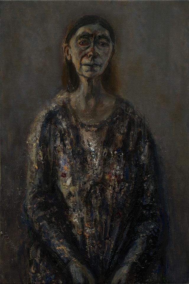 Celia Paul, Self Portrait, April 2016, oil on canvas, 91.6 x 61 x 3.6 cm (courtesy the artist and Victoria Miro, London. © Celia Paul)