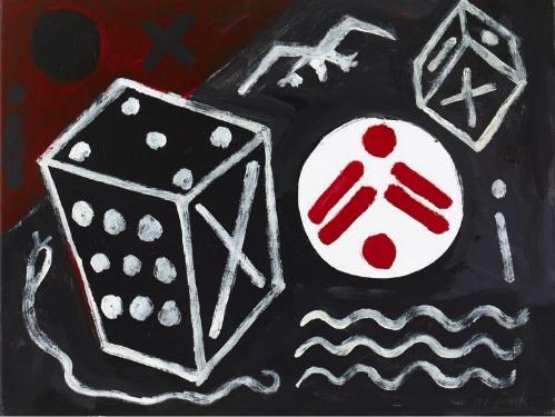 A.R. Penck, Wenn der Zufall es will (If Chance Permits), 2011, acrylic on canvas