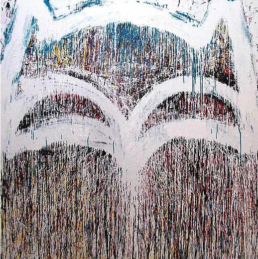 Joyce Pensato, 2012 Batman, Enamel on linen, 2012, 80 x 80 inches (courtesy Frie