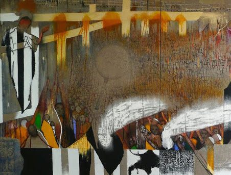 (detail) Irving Petlin, The Eleventh of January, 2009, oil on linen, diptych, 78