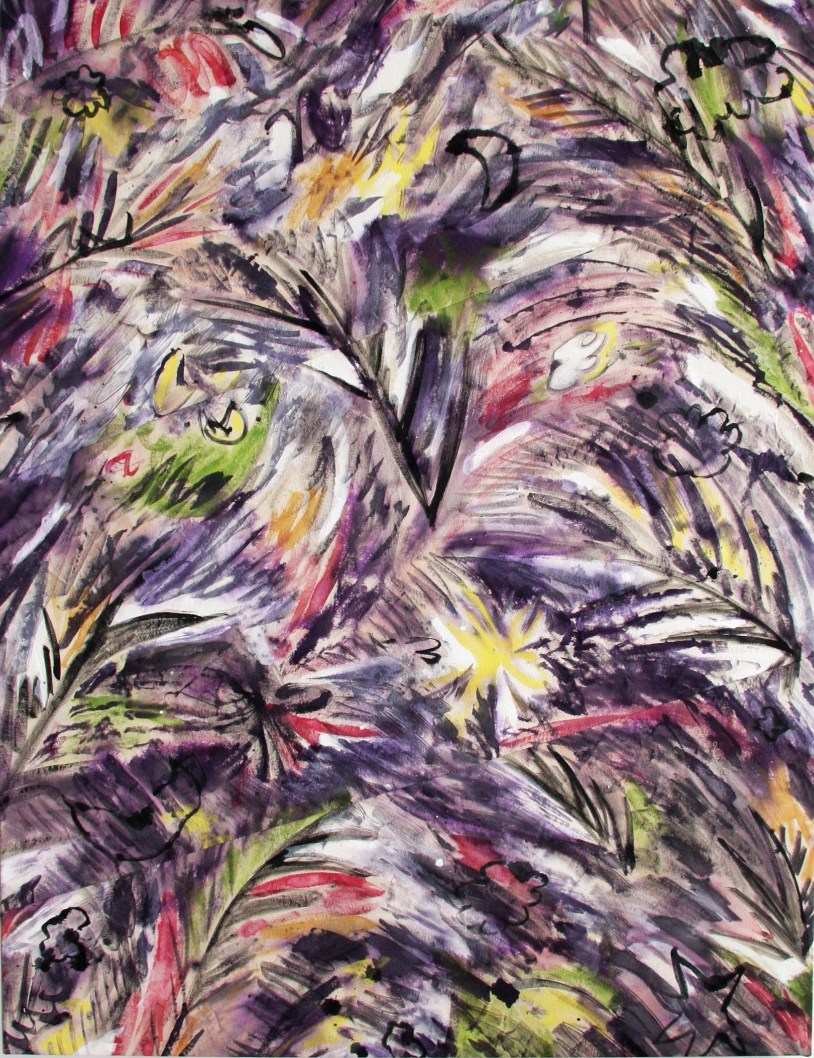 Meghan Petras, Tahiti, 2012, fabric paint on canvas, cut and sewn, 38 x 51 inche