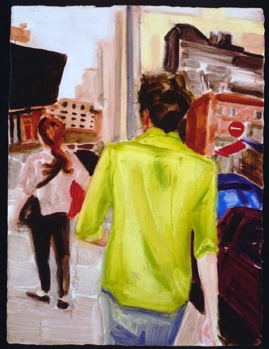 Elizabeth Peyton, Spencer Walking, 2001, oil on board, 12 1/4 x 9 1/4 x 7/8 inch