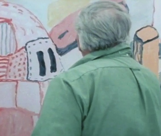 Screen Capture from the video Philip Guston in his studio (Courtesy of San Franc