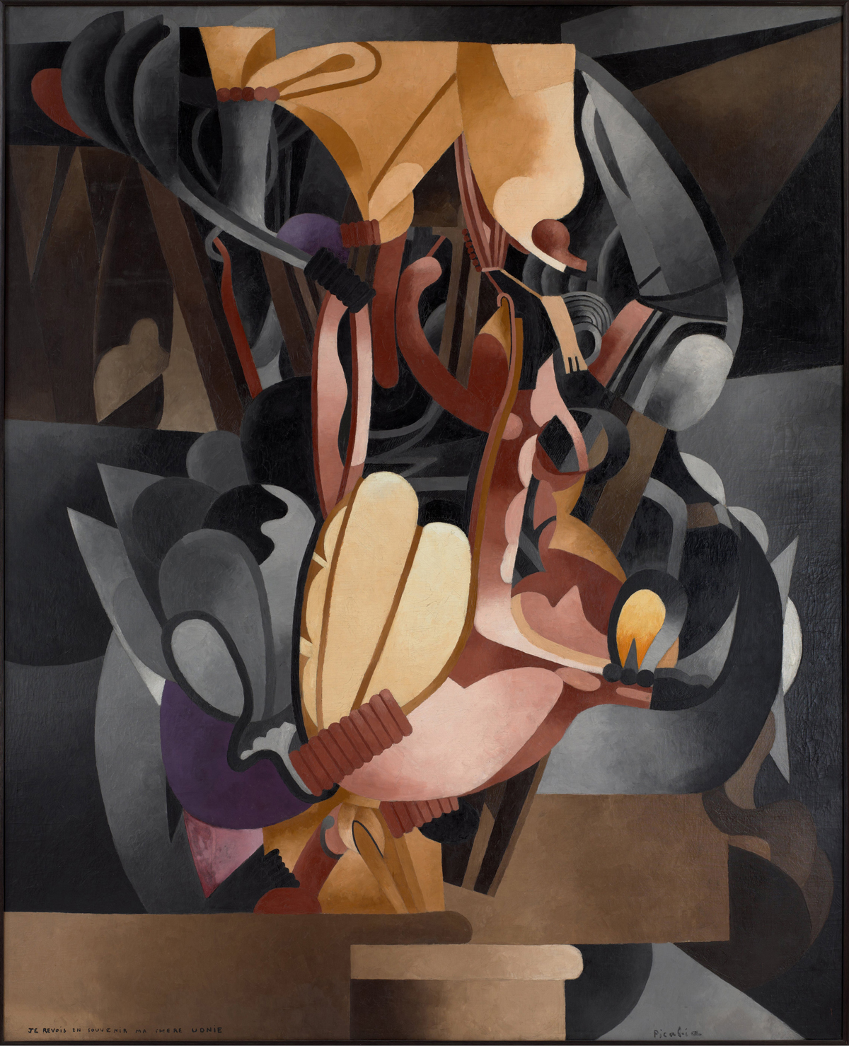 Francis Picabia, Je revois en souvenir ma chère Udnie (I See Again in Memory My Dear Udnie), 1914, oil on canvas (photo: Museum of Modern Art John Wronn; Art: ©2016 Artists Rights Society (ARS), NY and ADAGP, Paris/Museum of Modern Art, New York)