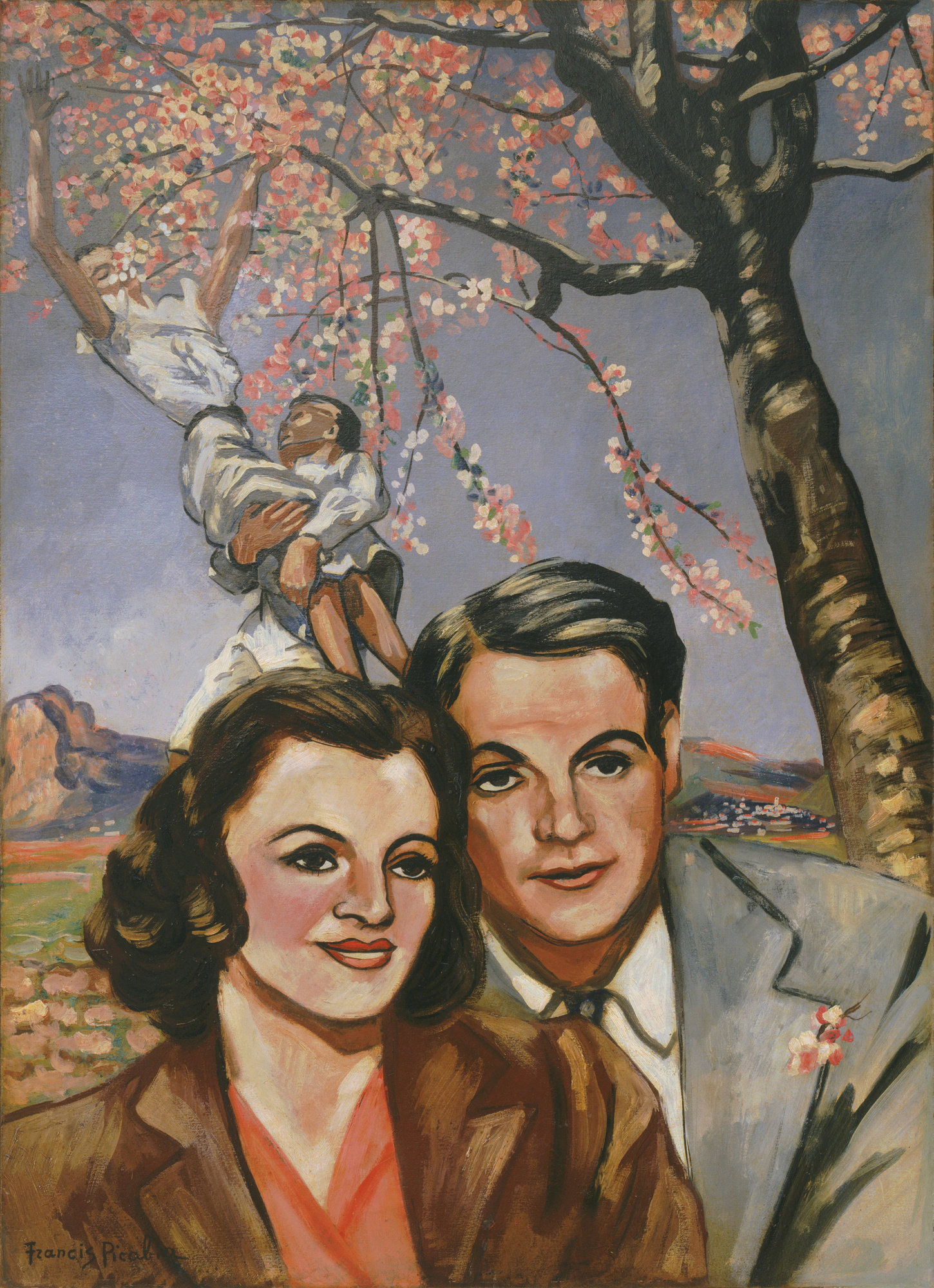 Francis Picabia, Portrait d'un couple (Portrait of a Couple), 1942–43, oil on board, 41 5/8 × 30 1/2 inches (The Museum of Modern Art, New York. Purchase, 2000. © 2016 Artist Rights Society (ARS), New York/ADAGP, Paris. Photo courtesy The Muse