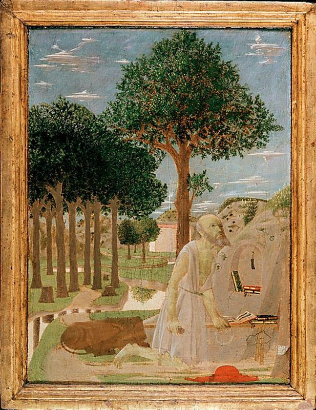 Piero della Francesca, Saint Jerome in the Wilderness, 1450, tempera on wood, 20
