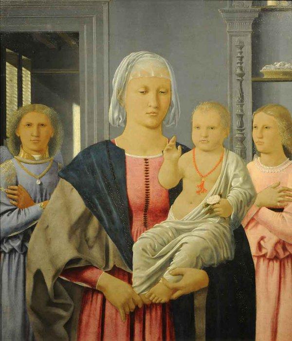 Piero della Francesca, Madonna and Child with Two Angels, 24 11/16 x 20 3/16 inc