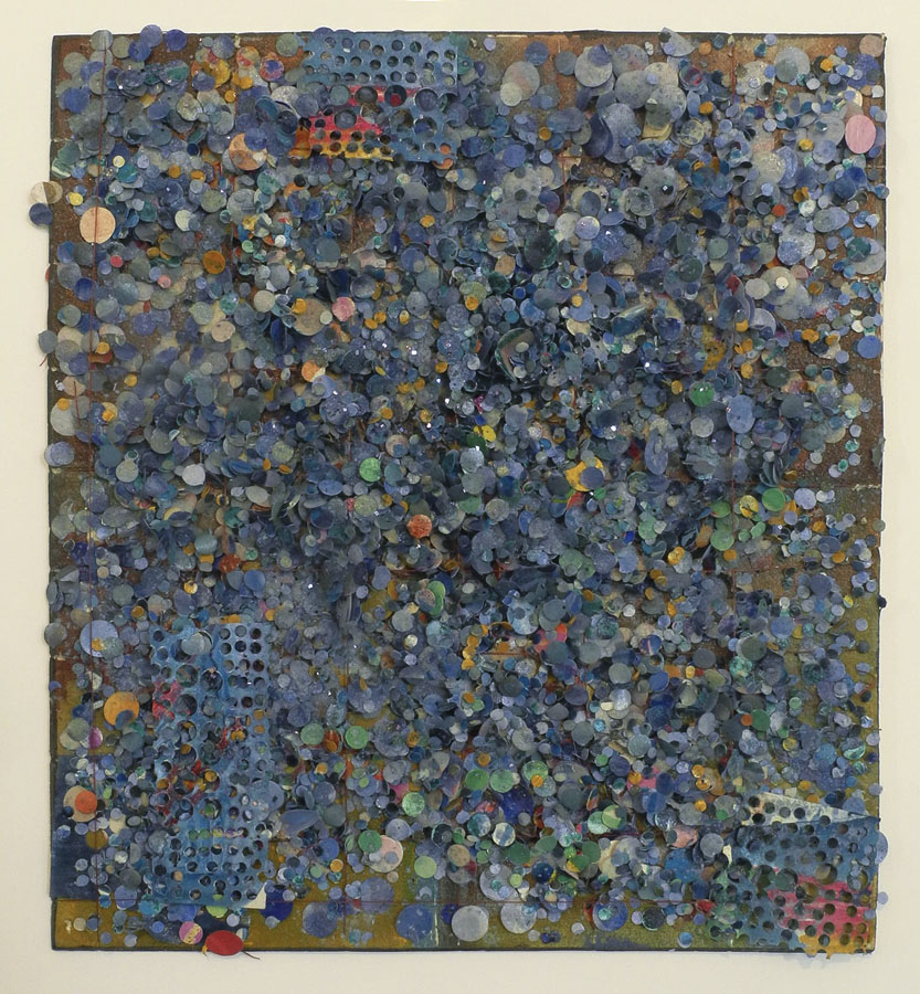 Howardena Pindell, Untitled #98, 1977, mixed media on paper mounted to board, 10