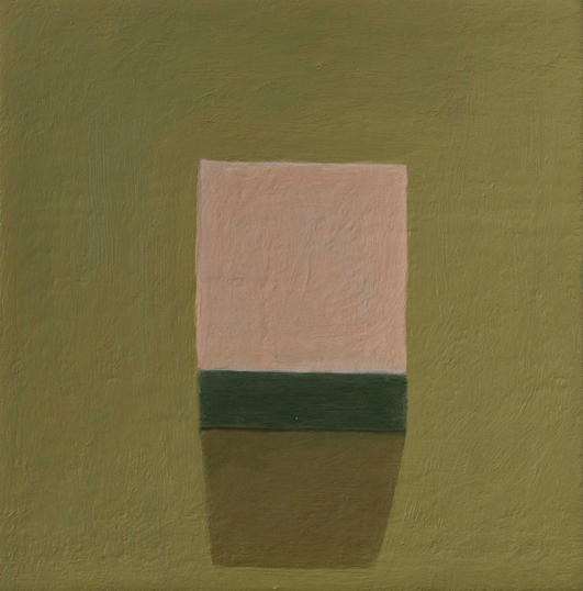 Victor Pesce, Pink Box, Brown Wall, 2007, oil on canvas, 8 x 8 inches (courtesy
