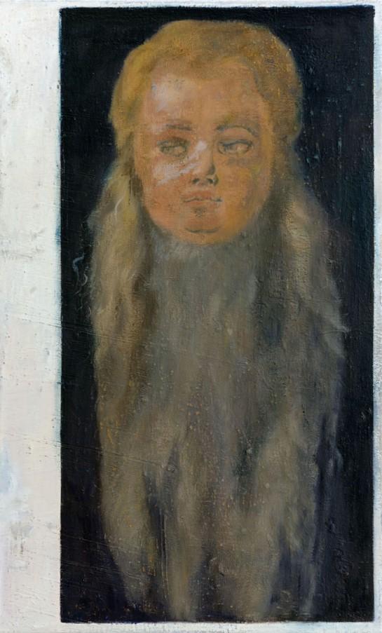 Jochen Plogsties, 19_11 (Kopf eines Jungen mit langem Bart) 90 x 55cm, 2011