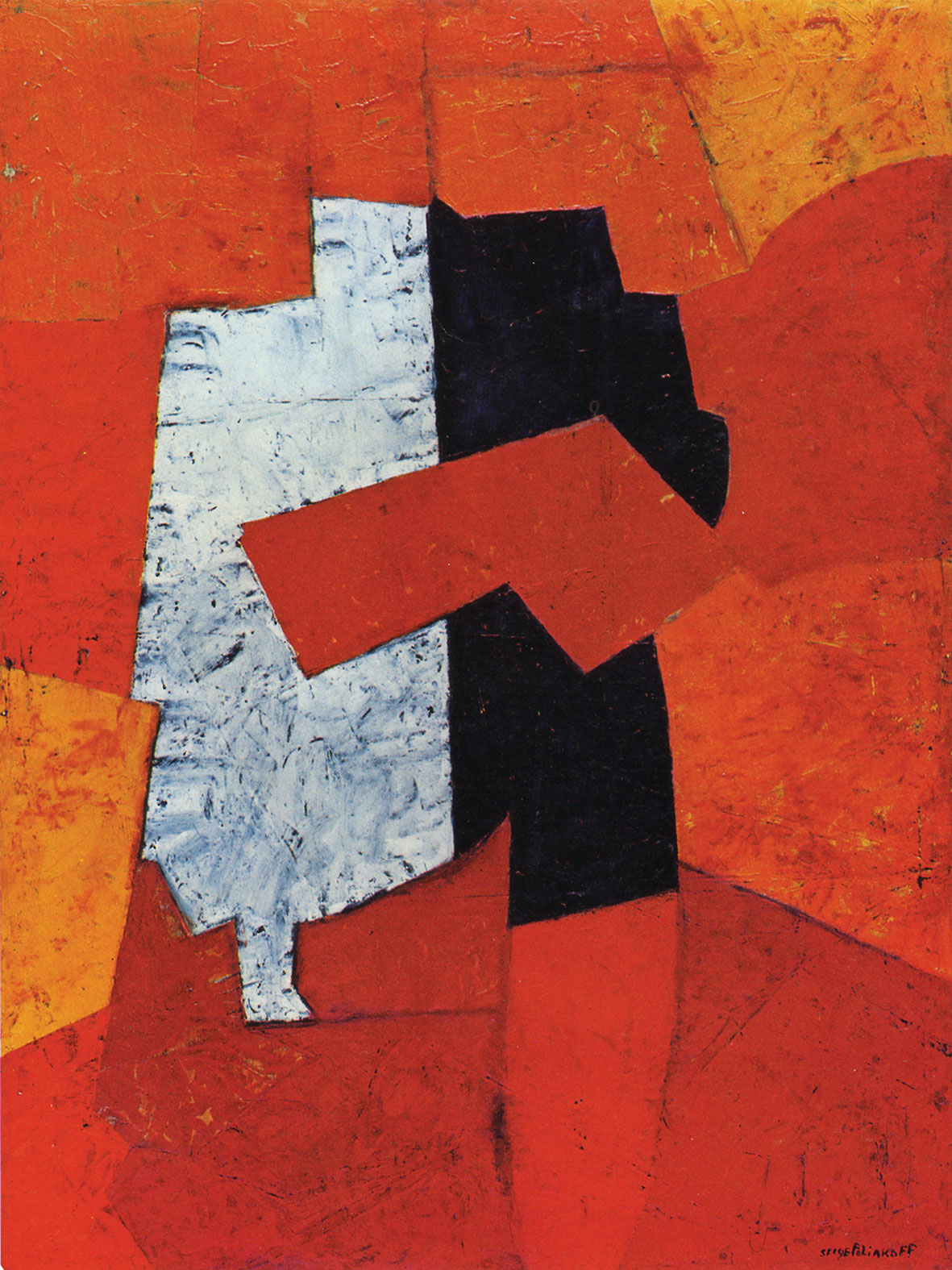 Serge Poliakoff, Composition, 1950, 51 3/8 x 38 1/4 inches, oil on plywood  (cou
