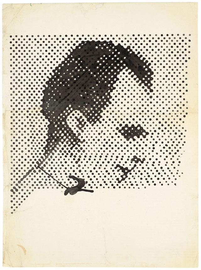 Sigmar Polke, Raster Drawing (Portrait of Lee Harvey Oswald), 1963, poster paint