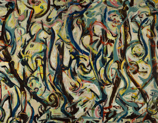 (detail)  Jackson Pollock, Mural, 1943, oil and casein on canvas (University of