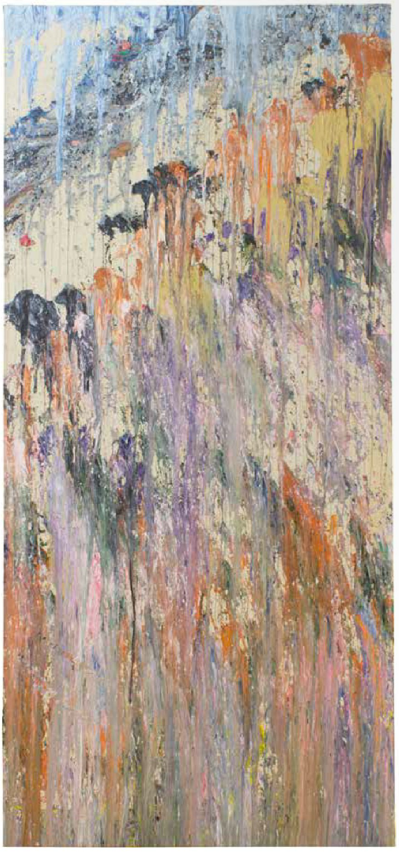 Larry Poons, Loose Change, 1977, acrylic on canvas, 94 x 43 1/2 inches (courtesy