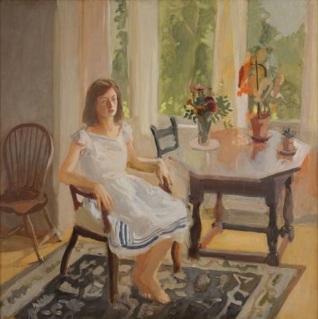 Fairfield Porter, Claire White, 1960, oil on canvas, 45 1/2 x 45 inches (Private Collection , courtesy of Tibor de Nagy Gallery)