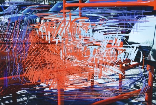 Stephen Posen, Red Crossing, 2012, oil on ink jet, 44 × 62 1/2 inches (courtesy