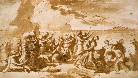 Nicolas Poussin, Crossing the Red Sea, 1647, pen and brush, brown wash and black