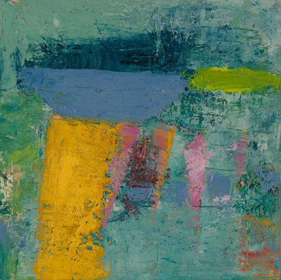 Lisa Pressman, Off Somewhere, 2015, oil on panel, 12 x 12 inches (courtesy of Ca