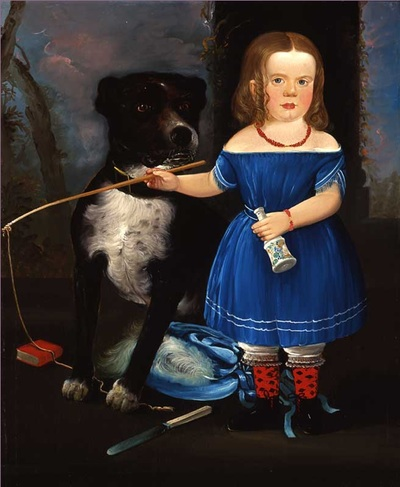 Child in Blue with Dog, William Matthew Prior (1806–1873), Probably East Boston,
