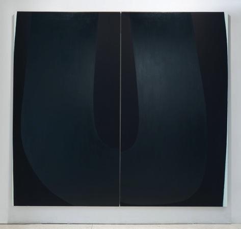 Nathlie Provosty, Doubleu (Dark), 2013, oil on linen in two parts, 84 x 92 inche