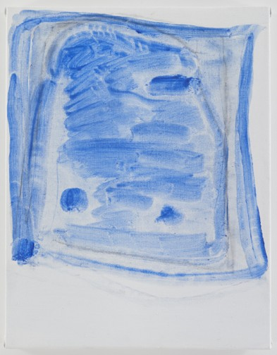 Raoul De Keyser, Sketchy Cobaltic Blue Flag, 2009, 17 1/2 x 13 1/2 inches (court